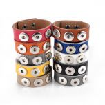 Chunk Interchangeable Snap PU Leather Bracelet Jewelry Fit 18mm/20mm Snap Buttons