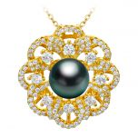 Flourishing Flower with Zircon 925 Silver  Jewelry Pendant Setting /Finding  without Pearl & Chain