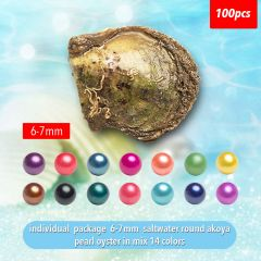 6-7mm Round Saltwater Akoya Cultured Pearl in Oyster for Pearl Party Jewelry Making Vacuum Package of 100pcs
