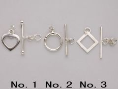 Multi-shape Toggle Clasp in 925 Sterling Silver Wholesale DIY Jewelry Making Supplies