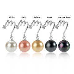 Multi Color Shell Pearl Drop Pendant Sterling Silver Wave Design