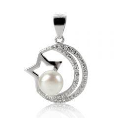 Shiny Star Sterling Silver Rhinestone Pearl Pendant Drop Dangle