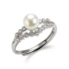 Sterling Silver Rhinestone Accented Asymmetrical Pearl Ring
