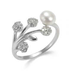 925 Sliver Flower Pearl Open Adjustable Ring Christmas Gift for Women Girls
