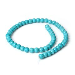 8mm Blue Turquoise Beads Round Loose Gemstone Beads for Jewelry Making DIY 1 Strand 16.5 Inch (54-55pcs)