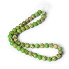 Green Imperial Jasper Stone 8mm Round Loose Beads For DIY Jewelry Making One Strand 15 Inch 47Pcs