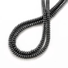 4*2mm Black Hematite Rondelle Beads Strand for Jewelry Making 16 Inch