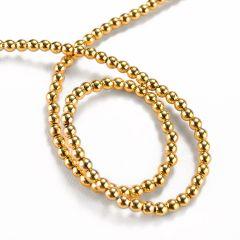 Gold Plated Hematite Gemstone Round Loose Beads 4mm 16 inch Strand