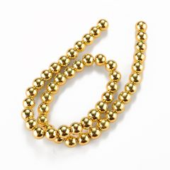 Round Gold Color Electroplating Hematite Loose Beads 8.5mm for Women DIY Jewelry