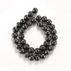 Round Black Color Electroplating Hematite Loose Beads 10mm 15 inch Strand