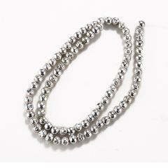 5mm Silver Plated Hematite Loose Beads Strand for Beading Jewelry Making