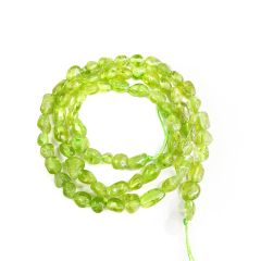 Irregular Peridot Smooth Beads Strand 16 inch Long Semi Precious Stone Beads for Jewelry Making