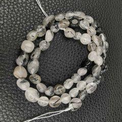 Oval Black Rutilated Quartz Beads for Jewelry Making DIY Gemstone Semi Precious Stone
