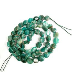 Coin Shape Smooth Russian Green Amazonite Beads Strand Energy Stone Power for Jewelry Making 16""