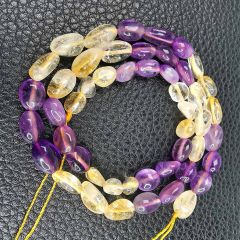 "16"" Oval Amethyst and Citrine Beads Strand for Women Girls DIY Necklace Bracelet Jewelry B205"