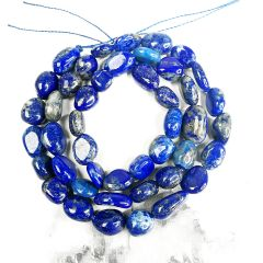Oval Blue Lapis Lazuli Beads Semi Precious Gemstone Beads for Jewelry Making Strand 16 Inch