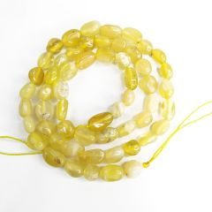 Smooth Yellow Opal Stone Beads Strand for Women Girls Fashion Jewelry Making DIY