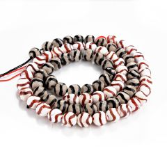 """Tibetan Dzi Agate beads Round Faceted Wave Lines Gemstone Beads Black/Red Band 15"""""""