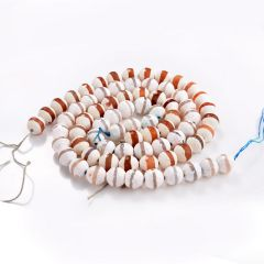 """Tibetan Dzi Agate (white/red) Banded Beads Faceted Round 6/8/10/12mm 15"""" Strand"""