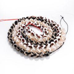 "Faceted Round Turtleback Pattern Tibetan Dzi Agate Gemstone Beads DIY Jewelry 15"" Strand"