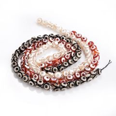 "Multi Color Agate Tibetan Dzi Beads Faceted Round Eye Beads Full Strand 15"""
