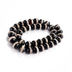 "Round Smooth Tibetan Agate Dzi Beads One White Line Pattern Stripe Black Onyx Beads 15"" Strand"