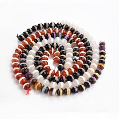 Faceted Dzi Agate Stone Beads with One Stripe Religious Tibetan Beads 8-12mm 15 inch