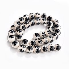 "Smooth White Black Agate Stone Tibetan Dzi Beads Lucky Clover Pattern 15"""