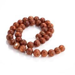 """Buddhism Gemstone Round Matte Beads Tibetan DZI Brown Agate Beads Jewelry Making Supplies 15"""""""
