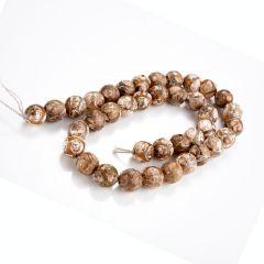 """Tibetan Agate Dzi Beads Patterned Round Stone Prayer Beads for Making Malas Jewelry 15"""""""