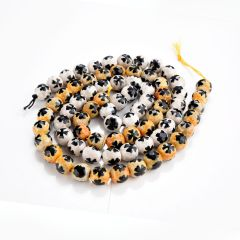 Tibetan Dzi Agate Stone Beads Lucky Four-leaf Clover Pattern Faceted Round 15 Inch Strand