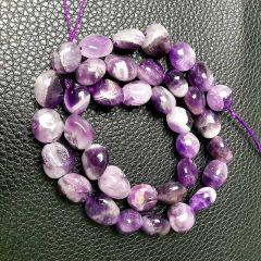Loose DIY Charm Smooth Amethyst Stone Beads for Bracelet Necklace Earrings Jewelry Making Accessories