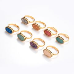 Druzy Agate Stone Gold Plated Ring Adjustable Pave Rhinestone Finger Jewelry Gemstone Ring