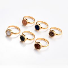 Gold Electroplated Sparkly Druzy Agate Adjustable Ring Round Druzy Stone Finger Rings