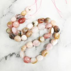 DIY Charm Smooth Pink Opal Loose Bead Strand for Bracelet Necklace Earrings Jewelry Making Accessories