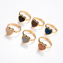 Dainty Heart Shapes Drusy Adjustable Ring Minimalist Agate Druzy Finger Rings Jewelry