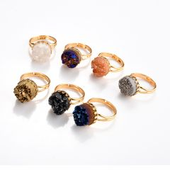 Mixed Color Agate Druzy Stone Adjustable Gold Plated Finger Rings Jewelry