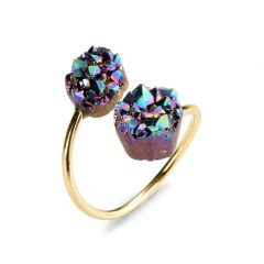 Double Irregular Agates Druzy Stone Adjustable Rings Gold Plated Brass Band