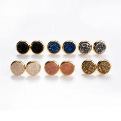 Round Druzy Agate Stud Earrings Gold Plated Copper Women Girls Jewelry