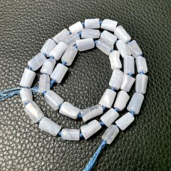Column Blue Lace Agate Stone Smooth Beads for Jewelry Making DIY Necklace Bracelet 16 inch