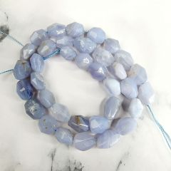 """Faceted Smooth Blue Lace Agate Metaphysical Stone Loose Beads Strand 16"""" for Jewelry Making"""