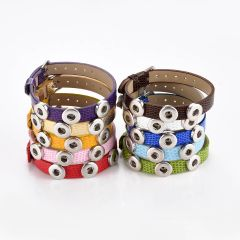 3 Snap Button PU Leather Bracelet for 12mm Snap Button Charms Interchangeable Snap Jewelry