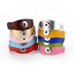 PU Leather Snap Jewelry Bracelet Fit 18mm Snap Button Charms