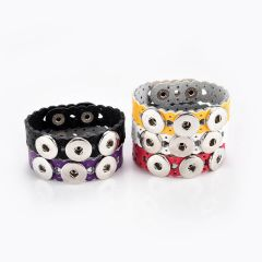 PU Leather Alloy Buckle Snap Button Wristbands Bracelets Fit 18mm Snap Buttons Hollow Heart Pattern