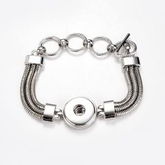 One Snap Multi Chain Bracelet Interchangeable Jewelry Fits Standard Size Snap Buttons