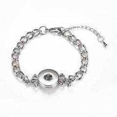 Alloy Link Chain Snap Bracelet Silvertone Fits 18/19mm Snap Button Charms