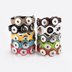 PU Leather Wave 3 Snap Bracelet Wristbands/Watch Bands Fit 18/20mm Snap Buttons