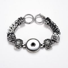 Alloy Vintage Punk Style Snap Bracelet Wristband with Adjustable Toggle Clasp