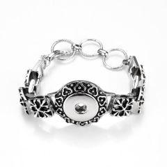Flower Design Snap Bracelet Bangle Antique Silver Tone Fits 18-20mm Snap Charms