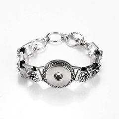 Alloy Flower Design Bracelet with 1 Snap Blank Base Fits Snap Charm Buttons